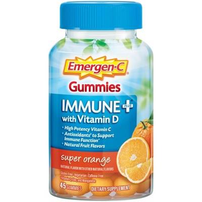 Emergen-C Immune+ with Vitamin D Gummies - Super Orange - 45ct