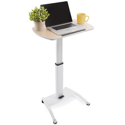 Cruizer Pivot Mobile Podium – Tilting Desktop and Pneumatic Height Adjustment – White – Stand Steady