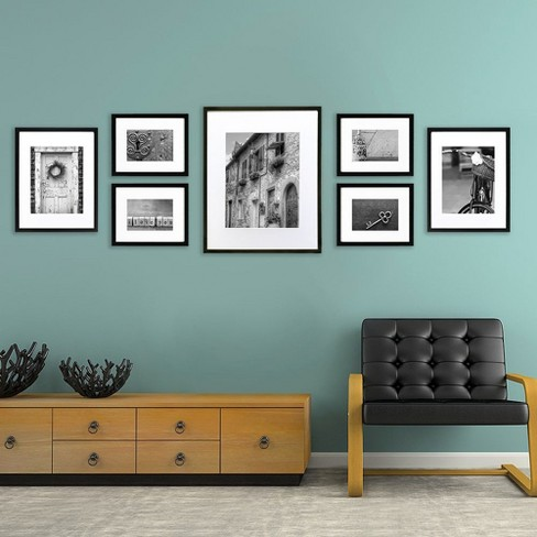 Gallery Perfect 7 Piece Multi Size Wall Frame Set Black Target