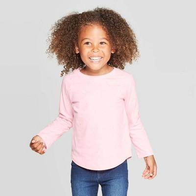 Toddler Girls' Long Sleeve Sparkle T-Shirt - Cat & Jack™ Pink 4T