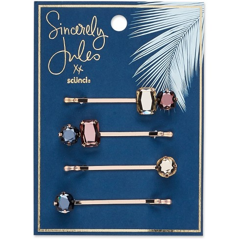 Sincerely Jules by Scünci Jeweled Bobby Pins - 4pk - image 1 of 3