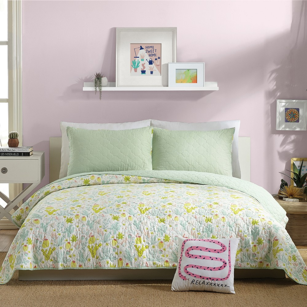 Image of 3pc Full/Queen Cacti Quilt Set Green - Hello Lucky for Makers Collective