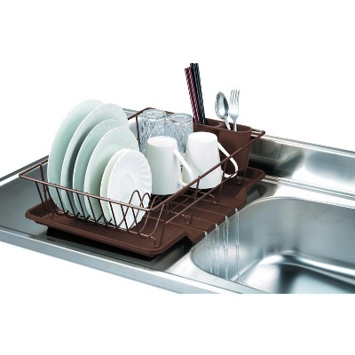Home Basics 3 Piece Rust-Resistant Vinyl Dish Drainer with Self-Draining Drip Tray