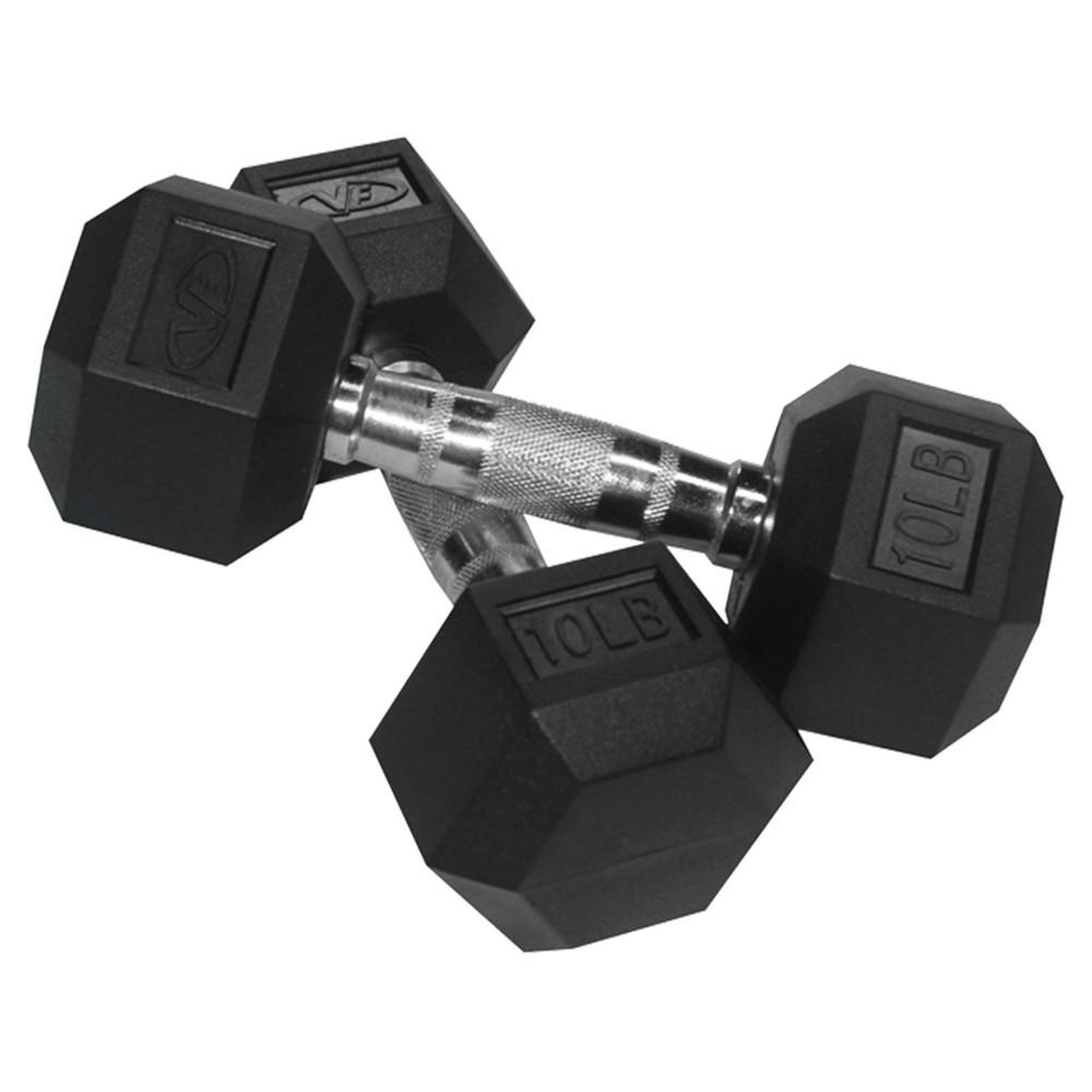 Valor Fitness RH-10 Rubber Hex Dumbbell Pair - 10lb, Black