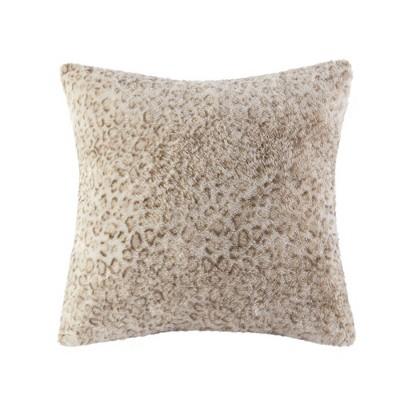 """20"""" x 20"""" Marselle Faux Fur Pillow Leopard"""