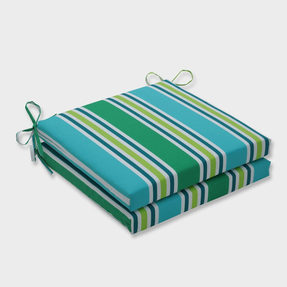 "Image of ""20"""" x 20"""" x 3"""" 2pk Aruba Stripe Squared Corners Outdoor Seat Cushions Blue - Pillow Perfect, Blue Green Yellow"""