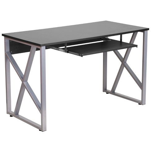 Flash Furniture Black Computer Desk, Flash Furniture Black Computer Desk With Pull Out Keyboard Tray