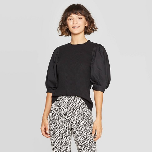 Women's Puff Elbow Sleeve Crewneck T-Shirt - Who What Wear™ - image 1 of 3