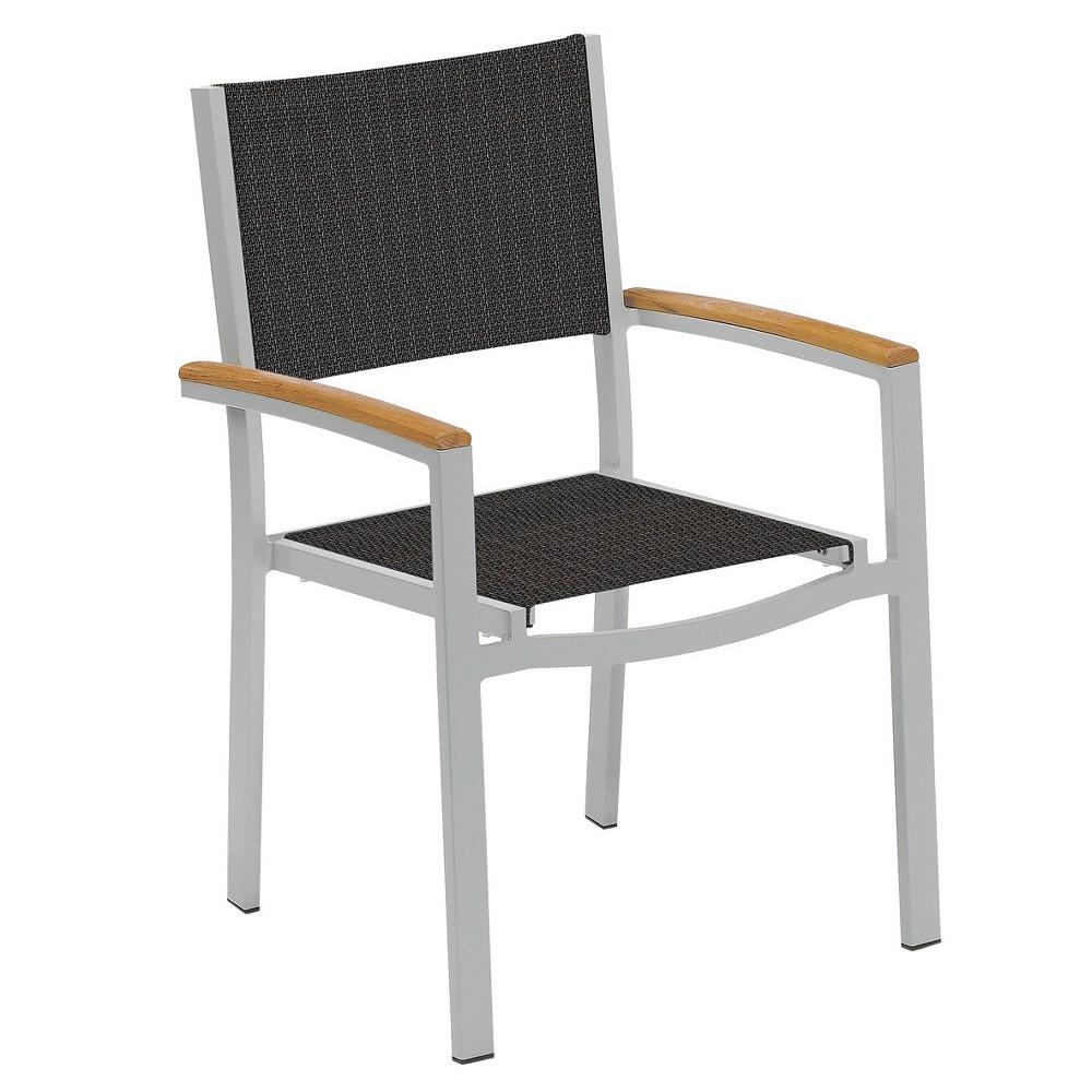 Travira Set of 2 Patio Dining Chairs - Ninja Sling - Powder Coated Aluminum Frame - Teak Armcaps - Oxford Garden, Ninja Sling/Teak Armcaps
