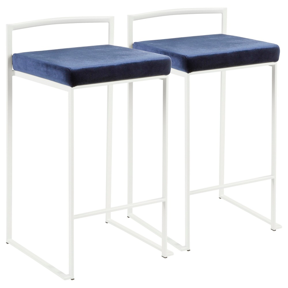 Fuji 26 In Contemporary Stackable Counter Stool White with Blue Velvet Cushion (Set of 2) - Lumisource
