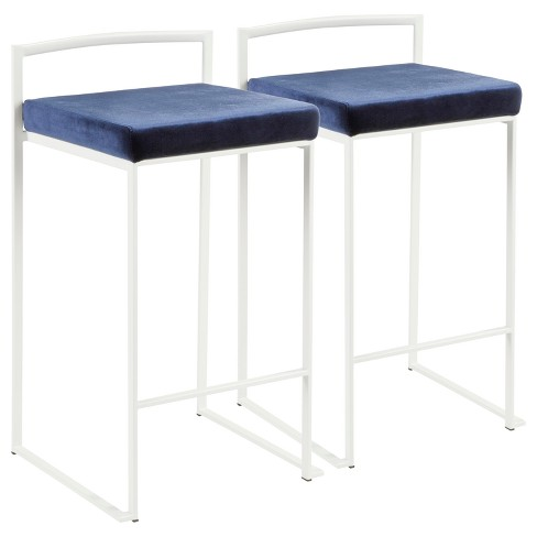 Fuji 26 In Contemporary Stackable Counter Stool White Fabric Cushion Set Of 2 Lumisource