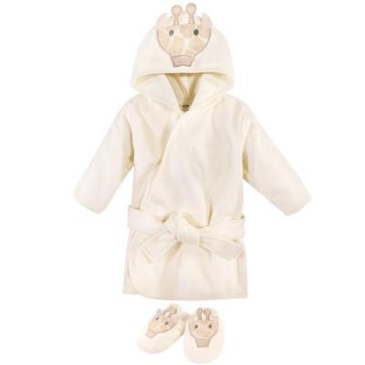 Hudson Baby Infant Cotton Animal Face Bathrobe and Slippers 2pc, Modern Giraffe, 0-9 Months