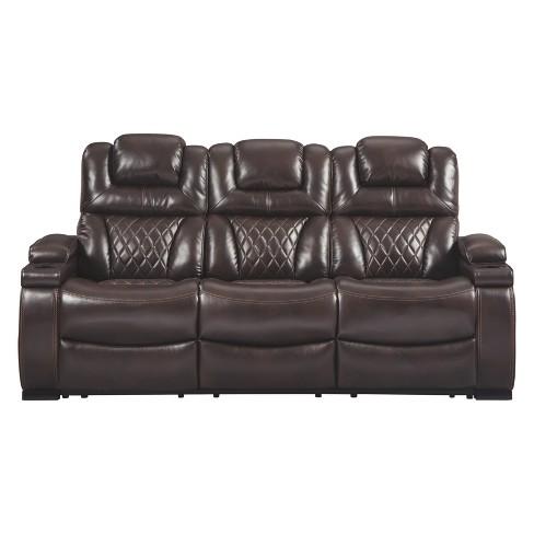 Warnerton Power Reclining Sofa with Adjustable Headrest Chocolate Brown -  Signature Design by Ashley