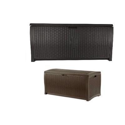 Suncast 73 Gallon Outdoor Deck Box & 99 Gallon Patio Garden Deck Box, Mocha
