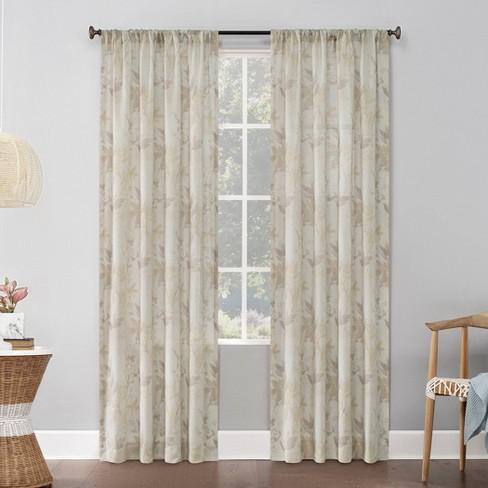 54 X84 Hilary Watercolor Floral Linen Blend Semi Sheer Rod Pocket Curtain Panel Beige No 918 Target
