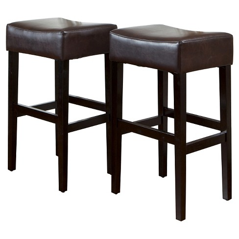 Leather Backless Bar Stool Brown
