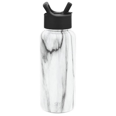 Simple Modern 32oz Stainless Steel Summit Water Bottle with Straw Lid Carrara Marble