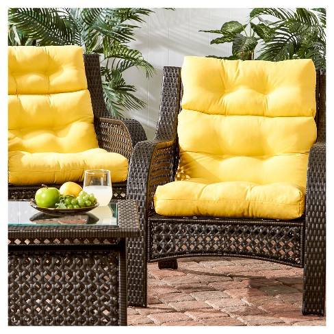 Set Of 2 Simple Solids Outdoor High Back Chair Cushions Greendale