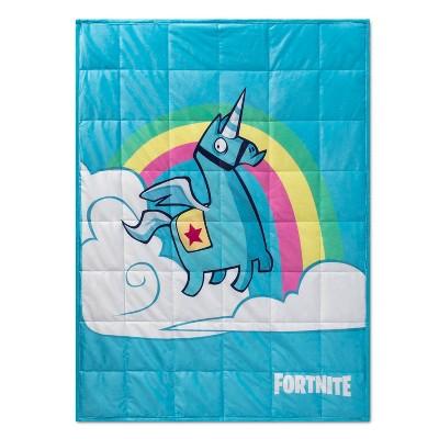 Fortnite Brite Unicorn Weighted Blanket White/Blue