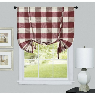Kate Aurora Country Farmhouse Buffalo Plaid Gingham Tie Up Window Curtain Shades