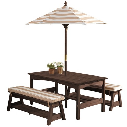Excellent Kidkraft Kids Wooden Outdoor Picnic Table Bench Set With Cushions Umbrella Beatyapartments Chair Design Images Beatyapartmentscom