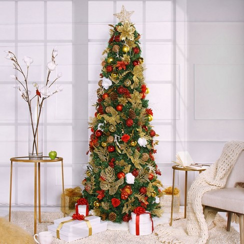 7 5ft Pre Lit Artificial Christmas Tree Led Easy Set Up