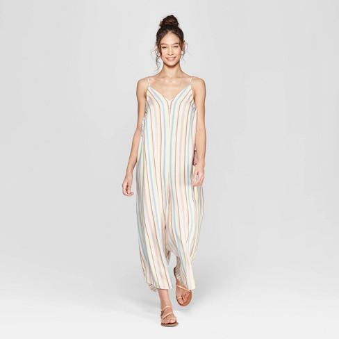 bc4c6d51879c Women s Striped V-Neck Strappy Waistless Jumpsuit with Side Tassels -  Xhilaration™ Cream