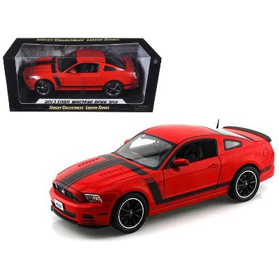 2013 Ford Mustang Boss 302 Red with Black Stripes 1/18 Diecast Model Car by Shelby Collectibles