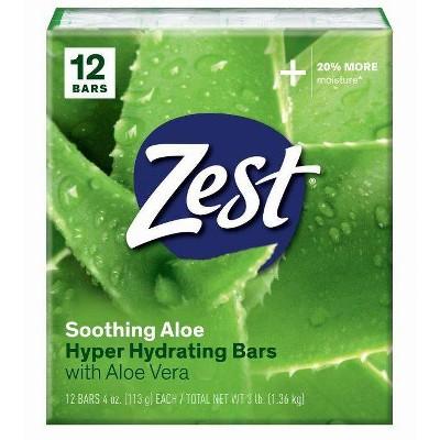 Zest Soothing Bar Soap Aloe - 4oz/12pk