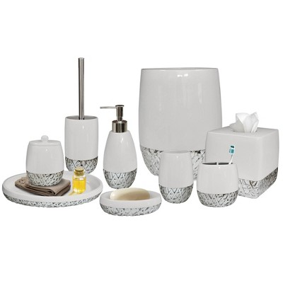 9pc Bali Resin Bath Accessory Set for Vanity Counter Tops White - Nu Steel