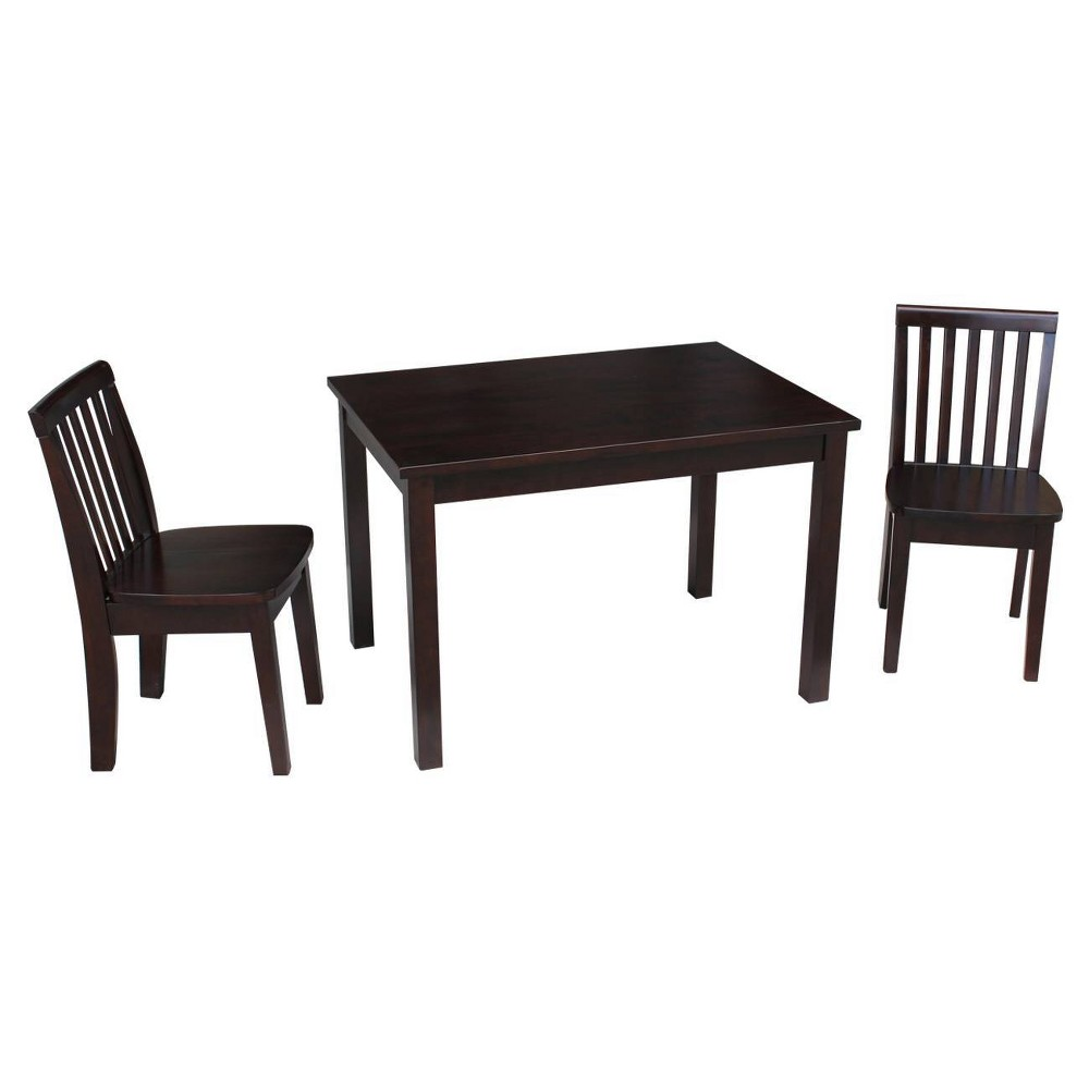Image of 3pc Kids Table and Chair Set Rich Mocha - International Concepts