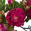 """Mixed Peony and Berry Silk Wreath Fuchsia 20"""" - Nearly Natural - image 3 of 3"""