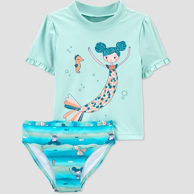 Toddler Girls' Mermaid Short Sleeve Rash Guard Set - Just One You® made by carter's Green