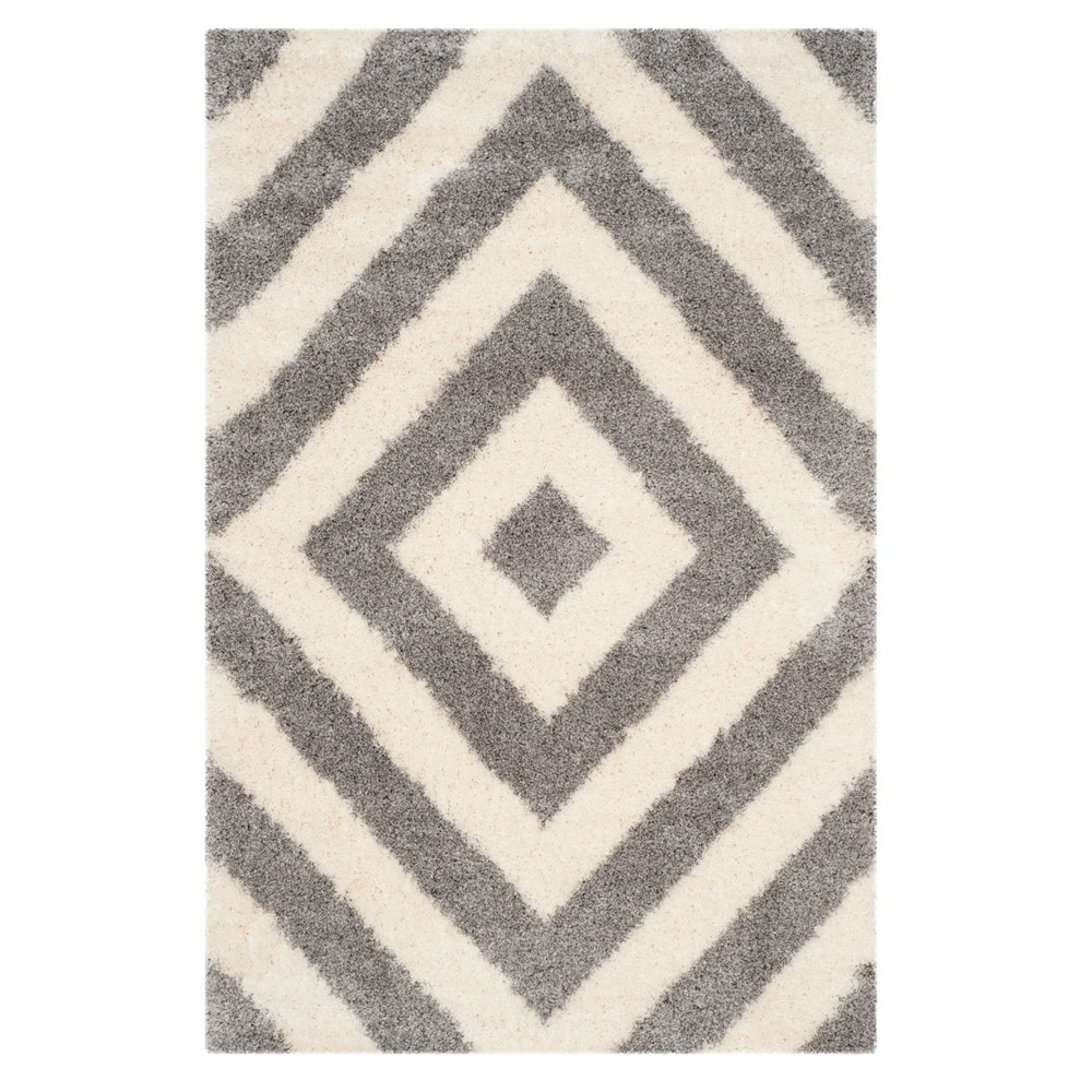 Ivory/Gray Geometric Loomed Accent Rug 4'X6' - Safavieh, Ivoryngray