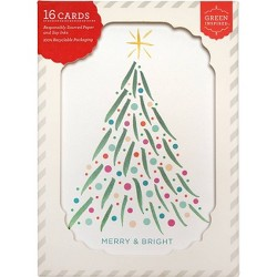 16ct Brush Tree Holiday Boxed Greeting Cards