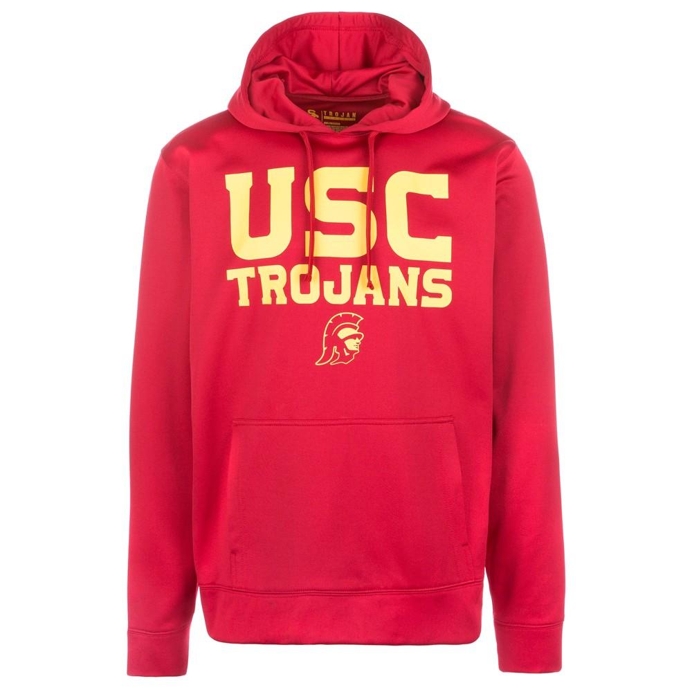 Usc Trojans Men's Long Sleeve Fleece Activewear Hoodie - Red - S