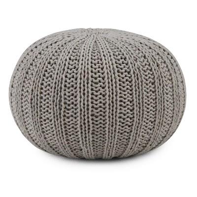 Grandville Hand Knit Round Pouf Dove Gray Cotton - Wyndenhall