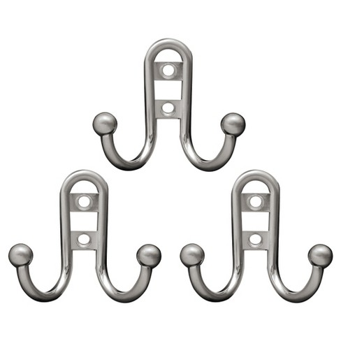 dffb1f756a1 Liberty Hardware Double Robe Hook with Ball End - Satin Nickel (Set of 3)