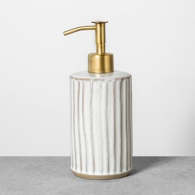 Stoneware Soap Dispenser Reactive Glaze Sour Cream - Hearth & Hand™ with Magnolia