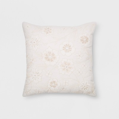 Floral Square Throw Pillow Cream - Threshold™