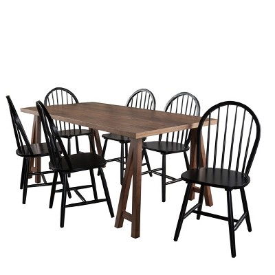 7pc Ansley Farmhouse Cottage Dining Set Natural Walnut/Black - Christopher Knight Home