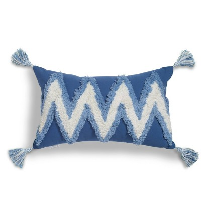"""12""""x20"""" Zig-Zag Boucle Embroidered Throw Pillow Blue/White - Sure Fit"""