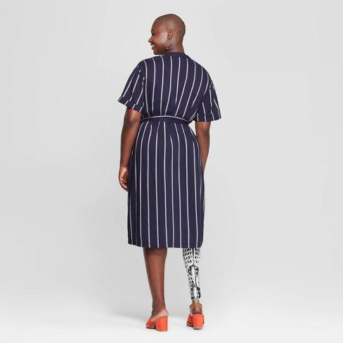 15a1e28866054 Women s Plus Size Striped V-Neck Dress - Ava   Viv™ Navy   Target