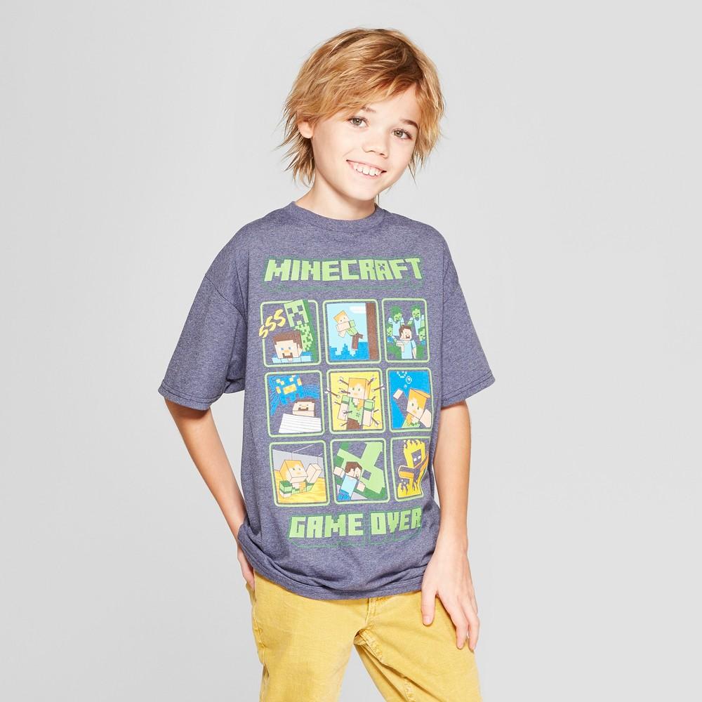 Boys' Minecraft Short Sleeve Graphic T-Shirt - Denim Heather M, Blue