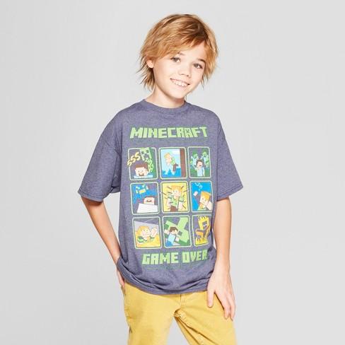 4803095f Boys' Minecraft Short Sleeve Graphic T-Shirt - Denim Heather : Target