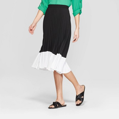 Women's Colorblock Pleated Skirt   A New Day™ Black/White by A New Day