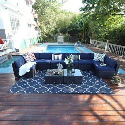 10pc Outdoor Rattan Wicker Sectional Sofa Set - Captiva Designs