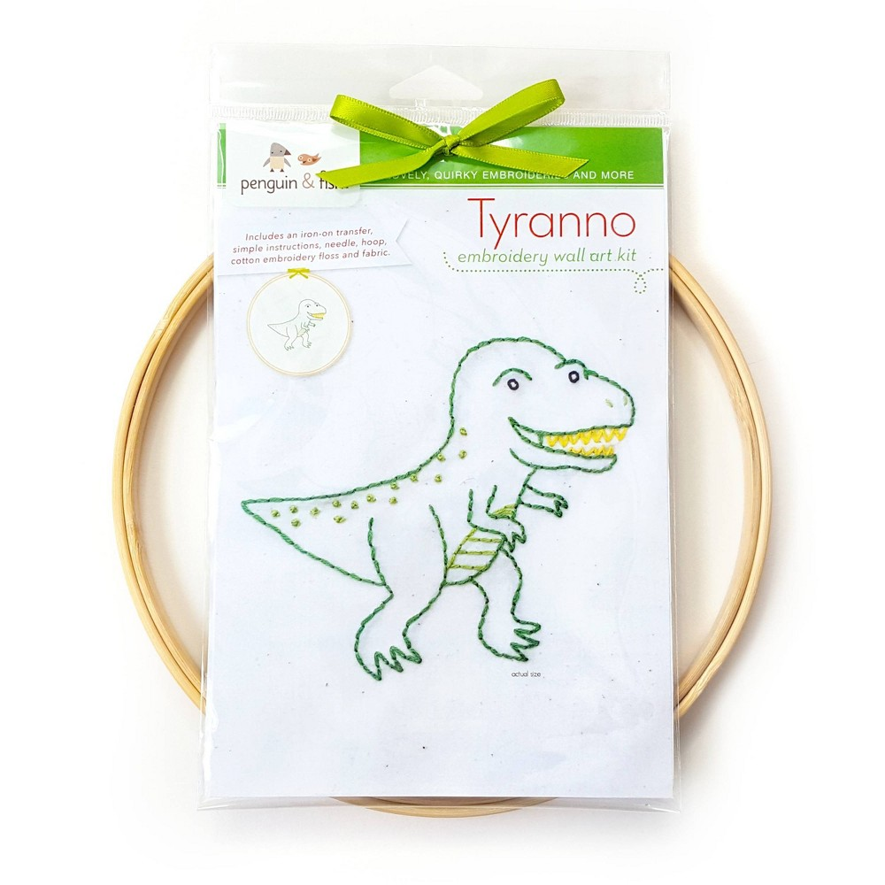 Image of Penguin & Fish Tyranno Embroidery Wall Art Kit