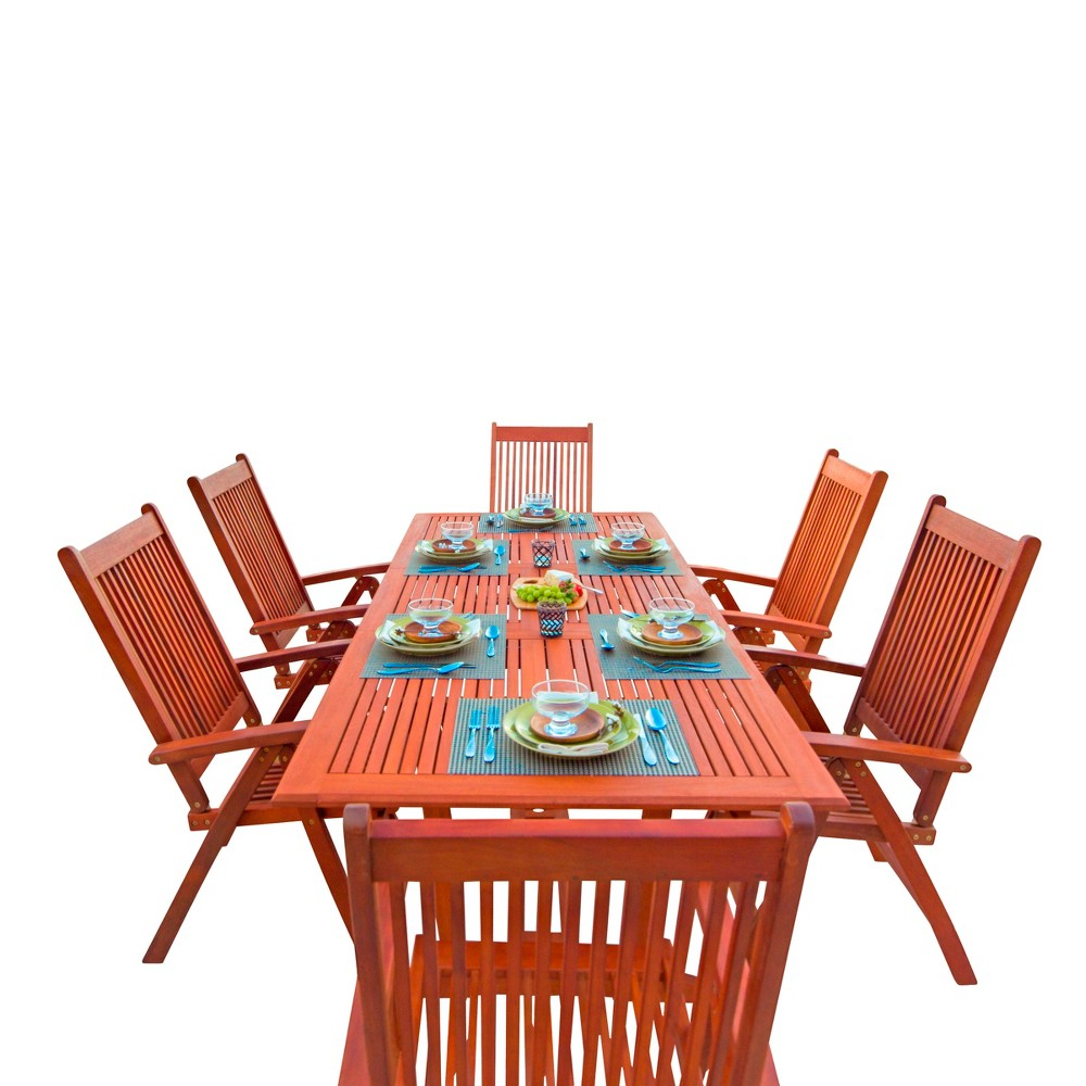 Vifah Malibu Eco-Friendly 7-Piece Wood Outdoor Dining Set with Rectangular Extension Table - Brown