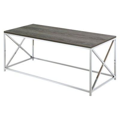 Belaire Coffee Table Chrome Weathered Gray - Johar Furniture